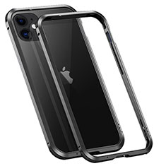 Funda Bumper Lujo Marco de Aluminio Carcasa T02 para Apple iPhone 12 Mini Negro