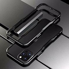 Funda Bumper Lujo Marco de Aluminio Carcasa T03 para Apple iPhone 12 Pro Max Negro