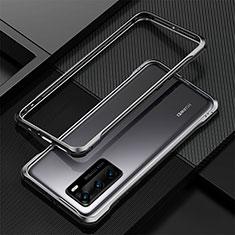 Funda Bumper Lujo Marco de Aluminio Carcasa T04 para Huawei P40 Negro