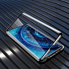 Funda Bumper Lujo Marco de Aluminio Espejo 360 Grados Carcasa A01 para Oppo Find X2 Pro Negro