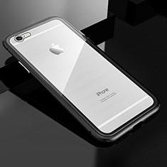 Funda Bumper Lujo Marco de Aluminio Espejo 360 Grados Carcasa M01 para Apple iPhone 6S Plus Negro