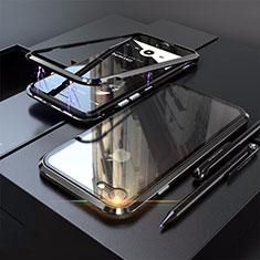 Funda Bumper Lujo Marco de Aluminio Espejo 360 Grados Carcasa M01 para Apple iPhone SE (2020) Negro