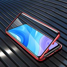 Funda Bumper Lujo Marco de Aluminio Espejo 360 Grados Carcasa M01 para Huawei Enjoy 10 Plus Rojo