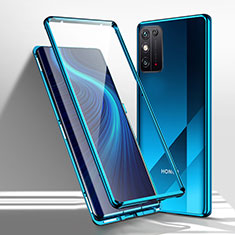 Funda Bumper Lujo Marco de Aluminio Espejo 360 Grados Carcasa M01 para Huawei Honor X10 Max 5G Azul