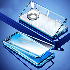 Funda Bumper Lujo Marco de Aluminio Espejo 360 Grados Carcasa M01 para Huawei Mate 40 Pro Azul