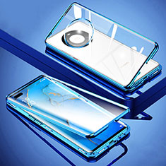 Funda Bumper Lujo Marco de Aluminio Espejo 360 Grados Carcasa M01 para Huawei Mate 40 Pro+ Plus Azul