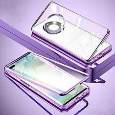 Funda Bumper Lujo Marco de Aluminio Espejo 360 Grados Carcasa M01 para Huawei Mate 40 Pro+ Plus Morado