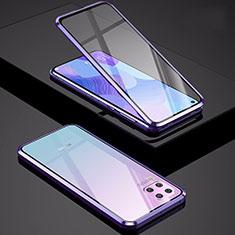Funda Bumper Lujo Marco de Aluminio Espejo 360 Grados Carcasa M01 para Huawei Nova 7i Morado