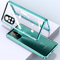 Funda Bumper Lujo Marco de Aluminio Espejo 360 Grados Carcasa M01 para Huawei Nova 8 Pro 5G Cian