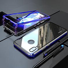 Funda Bumper Lujo Marco de Aluminio Espejo 360 Grados Carcasa M01 para Huawei P Smart+ Plus Azul