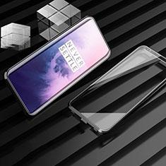 Funda Bumper Lujo Marco de Aluminio Espejo 360 Grados Carcasa M01 para OnePlus 7T Pro Negro