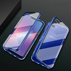 Funda Bumper Lujo Marco de Aluminio Espejo 360 Grados Carcasa M01 para Oppo A12e Azul