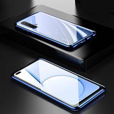 Funda Bumper Lujo Marco de Aluminio Espejo 360 Grados Carcasa M01 para Realme X50 5G Azul