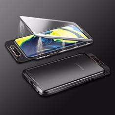 Funda Bumper Lujo Marco de Aluminio Espejo 360 Grados Carcasa M01 para Samsung Galaxy A80 Negro