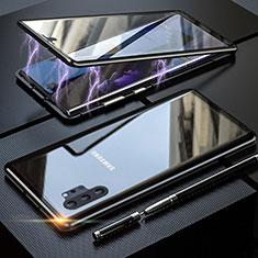 Funda Bumper Lujo Marco de Aluminio Espejo 360 Grados Carcasa M01 para Samsung Galaxy Note 10 Plus 5G Negro