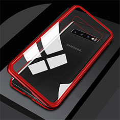 Funda Bumper Lujo Marco de Aluminio Espejo 360 Grados Carcasa M01 para Samsung Galaxy S10 5G Rojo