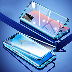 Funda Bumper Lujo Marco de Aluminio Espejo 360 Grados Carcasa M01 para Vivo V20 Pro 5G Azul