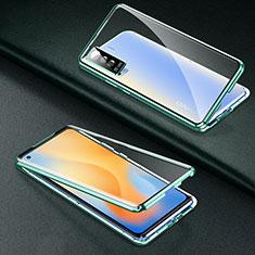 Funda Bumper Lujo Marco de Aluminio Espejo 360 Grados Carcasa M01 para Vivo X50 5G Verde