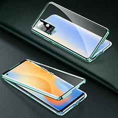 Funda Bumper Lujo Marco de Aluminio Espejo 360 Grados Carcasa M01 para Vivo X50 Pro 5G Verde