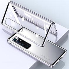 Funda Bumper Lujo Marco de Aluminio Espejo 360 Grados Carcasa M01 para Xiaomi Mi 10 Ultra Plata