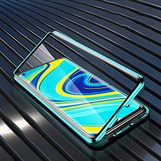 Funda Bumper Lujo Marco de Aluminio Espejo 360 Grados Carcasa M01 para Xiaomi Redmi Note 9 Verde