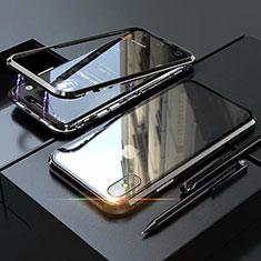 Funda Bumper Lujo Marco de Aluminio Espejo 360 Grados Carcasa M02 para Apple iPhone Xs Negro
