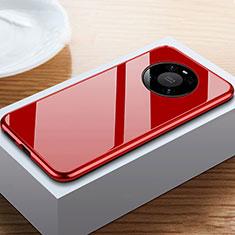 Funda Bumper Lujo Marco de Aluminio Espejo 360 Grados Carcasa M02 para Huawei Mate 40 Pro Rojo