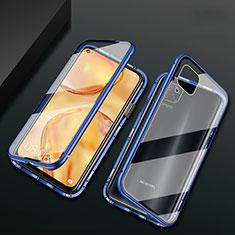 Funda Bumper Lujo Marco de Aluminio Espejo 360 Grados Carcasa M02 para Huawei Nova 7i Azul