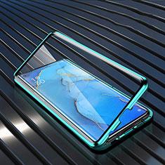 Funda Bumper Lujo Marco de Aluminio Espejo 360 Grados Carcasa M02 para Oppo Find X2 Neo Verde