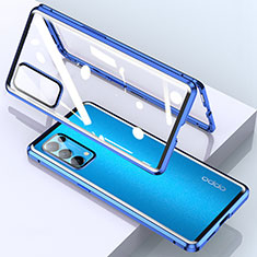 Funda Bumper Lujo Marco de Aluminio Espejo 360 Grados Carcasa M02 para Oppo Reno5 Pro 5G Azul