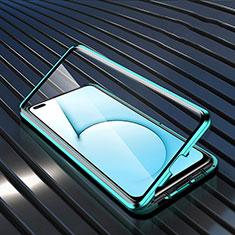 Funda Bumper Lujo Marco de Aluminio Espejo 360 Grados Carcasa M02 para Realme X3 SuperZoom Cian