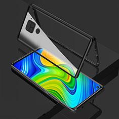 Funda Bumper Lujo Marco de Aluminio Espejo 360 Grados Carcasa M02 para Xiaomi Redmi Note 9 Negro