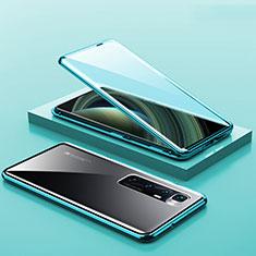 Funda Bumper Lujo Marco de Aluminio Espejo 360 Grados Carcasa M03 para Xiaomi Mi 10 Ultra Cian