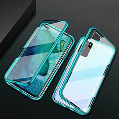 Funda Bumper Lujo Marco de Aluminio Espejo 360 Grados Carcasa M04 para Huawei Honor View 30 Pro 5G Verde