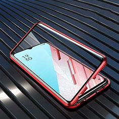 Funda Bumper Lujo Marco de Aluminio Espejo 360 Grados Carcasa M04 para Oppo Reno3 Rojo