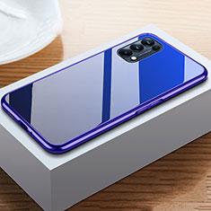 Funda Bumper Lujo Marco de Aluminio Espejo 360 Grados Carcasa M05 para Oppo Reno5 5G Azul