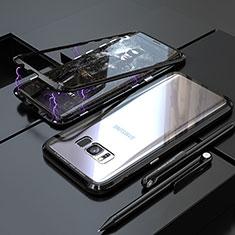 Funda Bumper Lujo Marco de Aluminio Espejo 360 Grados Carcasa M05 para Samsung Galaxy S8 Negro