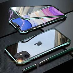 Funda Bumper Lujo Marco de Aluminio Espejo 360 Grados Carcasa M06 para Apple iPhone 11 Verde