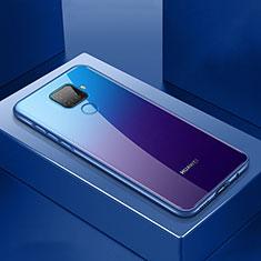 Funda Bumper Lujo Marco de Aluminio Espejo 360 Grados Carcasa M06 para Huawei Mate 30 Lite Azul