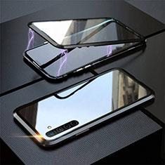 Funda Bumper Lujo Marco de Aluminio Espejo 360 Grados Carcasa M06 para Realme XT Negro