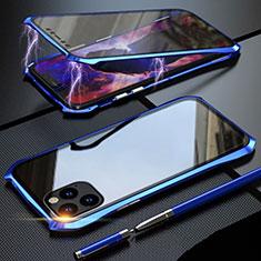Funda Bumper Lujo Marco de Aluminio Espejo 360 Grados Carcasa M07 para Apple iPhone 11 Pro Max Azul