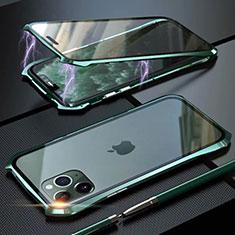 Funda Bumper Lujo Marco de Aluminio Espejo 360 Grados Carcasa M10 para Apple iPhone 11 Pro Max Verde