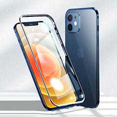 Funda Bumper Lujo Marco de Aluminio Espejo 360 Grados Carcasa N01 para Apple iPhone 12 Azul