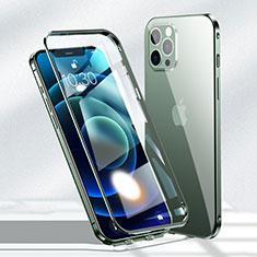 Funda Bumper Lujo Marco de Aluminio Espejo 360 Grados Carcasa N01 para Apple iPhone 12 Pro Verde