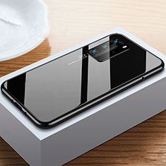 Funda Bumper Lujo Marco de Aluminio Espejo 360 Grados Carcasa N01 para Huawei P40 Pro Negro