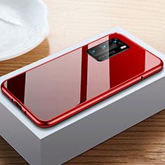 Funda Bumper Lujo Marco de Aluminio Espejo 360 Grados Carcasa N01 para Huawei P40 Rojo y Negro