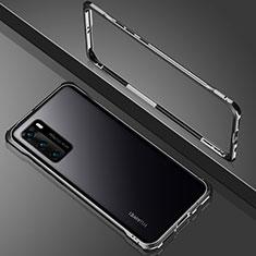 Funda Bumper Lujo Marco de Aluminio Espejo 360 Grados Carcasa N02 para Huawei P40 Negro