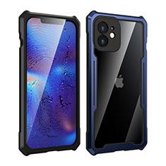Funda Bumper Lujo Marco de Aluminio Espejo 360 Grados Carcasa para Apple iPhone 12 Azul y Negro