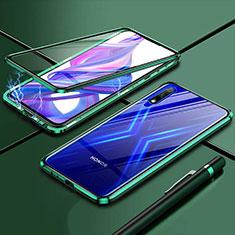 Funda Bumper Lujo Marco de Aluminio Espejo 360 Grados Carcasa para Huawei Enjoy 10 Verde