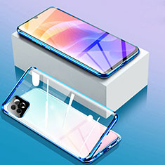 Funda Bumper Lujo Marco de Aluminio Espejo 360 Grados Carcasa para Huawei Enjoy 20 5G Azul